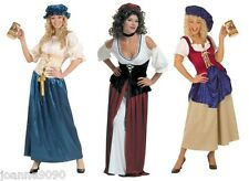WOMENS LADIES MEDIEVAL BANQUET VICTORIAN TUDOR PIRATE FANCY DRESS COSTUME SIZE