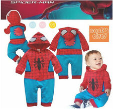 Kids Baby Boys Girls Spiderman Hoodies One-Piece Outfits Sets Costume 0-24Months