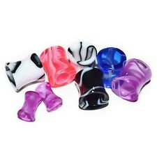 """PAIR of MARBLE SWIRL ACRYLIC EAR PLUGS HOLLOW SADDLE TUNNELS 6 Colors 10g-1/2"""""""