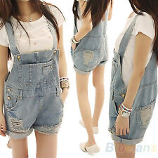 Women Girls Washed Jeans Denim Casual Hole Jumpsuit Romper Overall Short BF3U