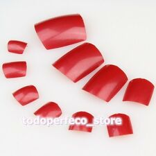 Red Color Full Cover Toenail French False Acrylic Artificial Toe Nail Art NEW
