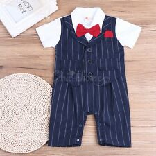 Baby Boys Wedding Party Christening Bowtie Tuxedo Romper Suit Vest Outfit 6-24M