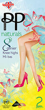 Pretty Polly 'Naturals' 8 Denier Knee Highs, 2 Pairs Per Pack