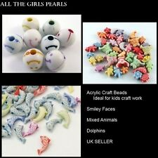 Acrylic Craft Beads Ideal for Kids Craft. 3 Styles Available. UK SELLER