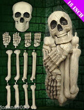HALLOWEEN HORROR SKELETON SKULL NET BAG OF PLASTIC FAKE BONES DECORATION PROP