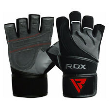Auth RDX Gel Weight Lifting Body Building Gloves Gym StrapLeather Training US