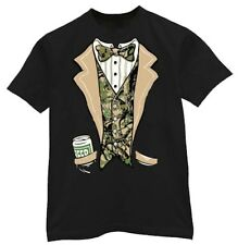 Redneck Tuxedo funny camo camouflage beer drinking tux black tee shirt tshirt