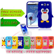 PENGUIN SILICONE SKIN CASE COVER & SCREEN PROTECTOR FITS SAMSUNG GALAXY S3 i9300