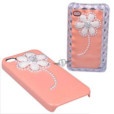 Bling Pearl Flower Case Cover w/Crystal Accent for iPhone 4 4G 4S