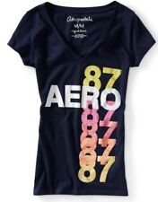 NEW Navy Aeropostale Aero Womens Shimmer Multi 87 Graphic Tee Shirt Sz Medium