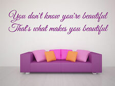 "1d lyrics ""You don't know your beautiful""  WALL STICKER DECAL QUOTE MURAL ART"