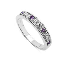 STERLING SILVER 3MM WIDE AMETHYST AND DIAMOND ETERNITY RING