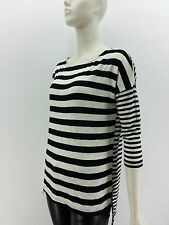 New FOREVER 21 LOVE 21 Hi Low Black White Striped Long Sleeve Top Casual Trendy