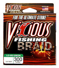VICIOUS BRAID FISHING LINE LO-VIS GREEN 300 YARDS various lb. tests