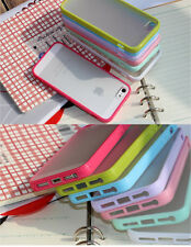 Bumper Frame TPU Case Frosted PC Back Cover for iPhone 5+Free Screen Protector