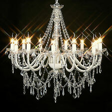 LARGE CRYSTAL CHANDELIER 12 ARM LIGHT FRENCH PROVINCIAL WHITE BLACK IVORY GLASS