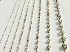 1 Metre Diamante/Rhinestone Spaced-Out Crystal Chain SILVER A++ Quality(9 Sizes)