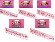 Hen Night Pink Sash Bridesmaid Mother of Bride Party Accessories Girls Night