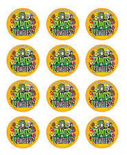 "Plants vs Zombies x12 Personalised Edible Rice/Icing Cup Cake 2.13"" Toppers"