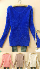 FREE SHIPPING NWT S571 Women V-Neck Mohair Blends Sweater Jumpers (4 Colors)