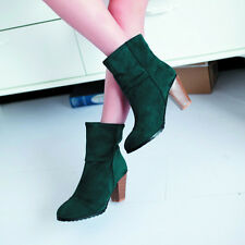 New Fashion Sexy High Heel Womens Ankle Boots Shoes Black/Brown/Green Chunky Ca