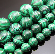 Free 15 Inch TOP Natural Malachite Gemstone Round spacer Beads 6mm 8mm 10mm 12mm