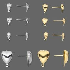 100 Post Stud Earring Findings With Closed Loop Plated Surgical Steel & Brass