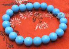 "Beautiful! 8 to16mm Blue Round Turquoise 7.5"" to 8"" bracelet Free shpping-bra224"