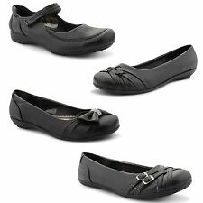 New Girls Pretty Black School Shoes Smart Slip On Dolly Ballet Pumps Size UK 3-8
