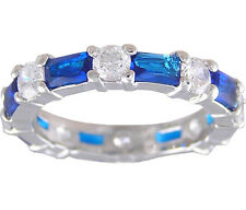 Sapphire Blue & Clear Eternity Ring Size 5 6 7 8 9 10 Cubic Zirconia Jewelry