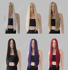 Heat resistant Mid-part Long Straight Natural Look no bangs Cosplay Wig 28 inch