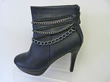 LADIES NAVY BLUE FAUX LEATHER ZIP AND CHAIN 4 INCH STILETTO PLATFORM ANKLE BOOTS