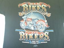 VTG 80s 3D Old Bikes And Bikers Both Get Better With Age T-shirt HD not 70s 90s