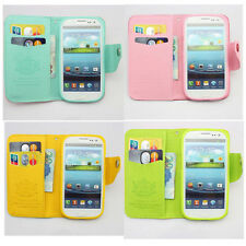 1pcs flip wallet credit card leather case cover FOR samsung galaxy note + Strap