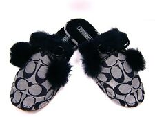 New NIB Coach Poppy Jayda Signature Fur Slippers Black and White A Great Gift!
