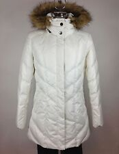 Andrew Marc NWT White Faux Fur Removable Hood Down Jacket sz M