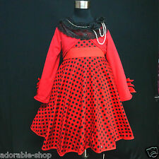 R3122 Reds Blacks Girls Party Dress + Reds Cardigan SET AGE SIZE 2Y,4Y,6Y,8Y,10Y