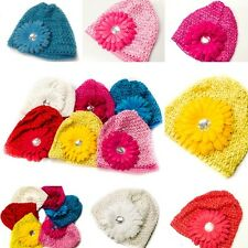 6-Colors Choices Beanie Crochet Hat Baby Child Cute Daisy Flower Crochet A1510