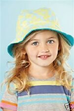 Next Baby Girl`s Fisherman`s Blue and Yellow Floral Summer Hat Size 6-12,1-2,3-6