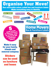 Moving Home Removal Box & Furniture Contents Labels - Colour Coded
