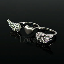 Fashion 18K WGP Angel Wing Ring Use Swarovski Crystal RP1960 Free Gift Pouch AA