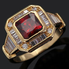 Size 8,9,10,11 Jewelry Men's Red Garnet 10KT Yellow Gold Filled Ring For Gift