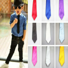 Wedding Party Boy Stain Necktie Solid Color Elastic Tie Necktie for School Kids
