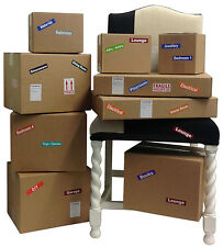Moving Home Colour Coded Labels For Cardboard Boxes & Furniture - Removable