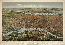 1875 CURRIER & IVES CITY OF PHILADELPHIA PA PENNSYLVANIA MAP HISTORICAL