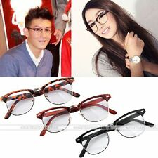 New Vintage Clear Lens Trendy Stylish Half Metal Rock Retro Eyewear Glasses