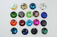 44 PCS 27mm Color Glass Faceted Glass Round Jewels