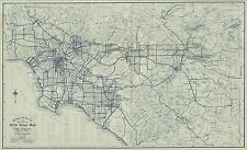 1926 OLD ROAD AUTOMOBILE MAP LOS ANGELES CALIFORNIA Largest Sizes