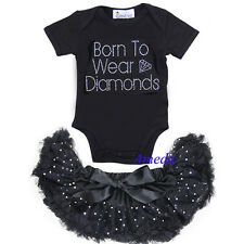 Newborn Baby Bling Black Pettiskirt Rhinestone Born To Wear Diamonds Romper 0-6M