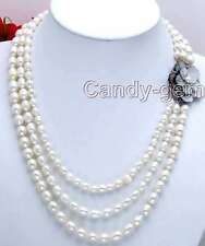 SALE 7-9MM Rice WHITE natural PEARL 3 Strands NECKLACE & SHELL FLOWE Clasp-n5203
